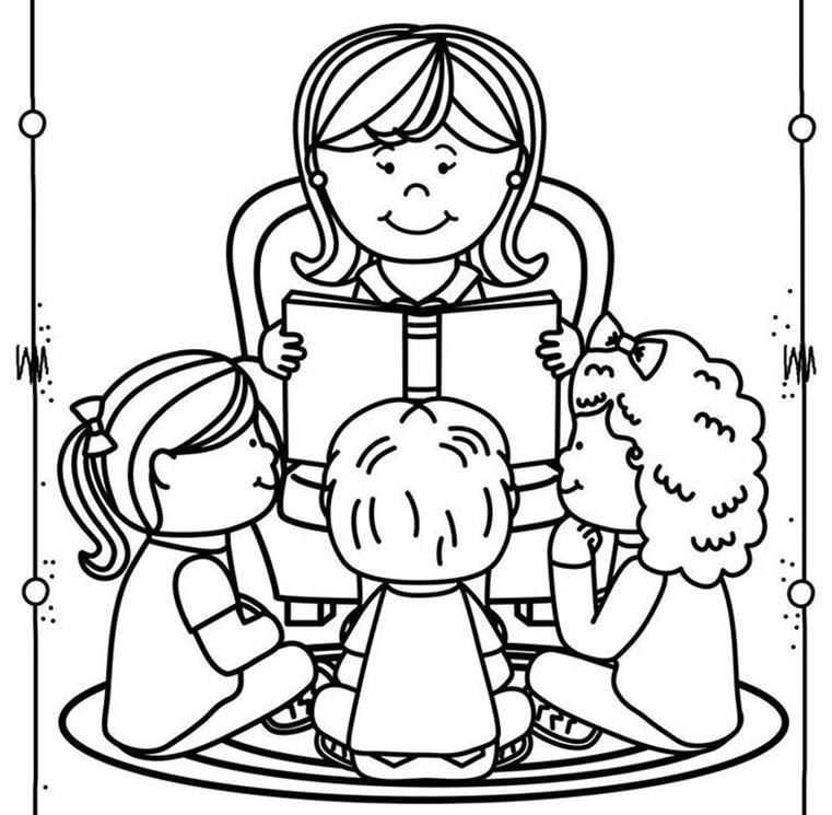 Tranh tô màu cô giáo và các bé