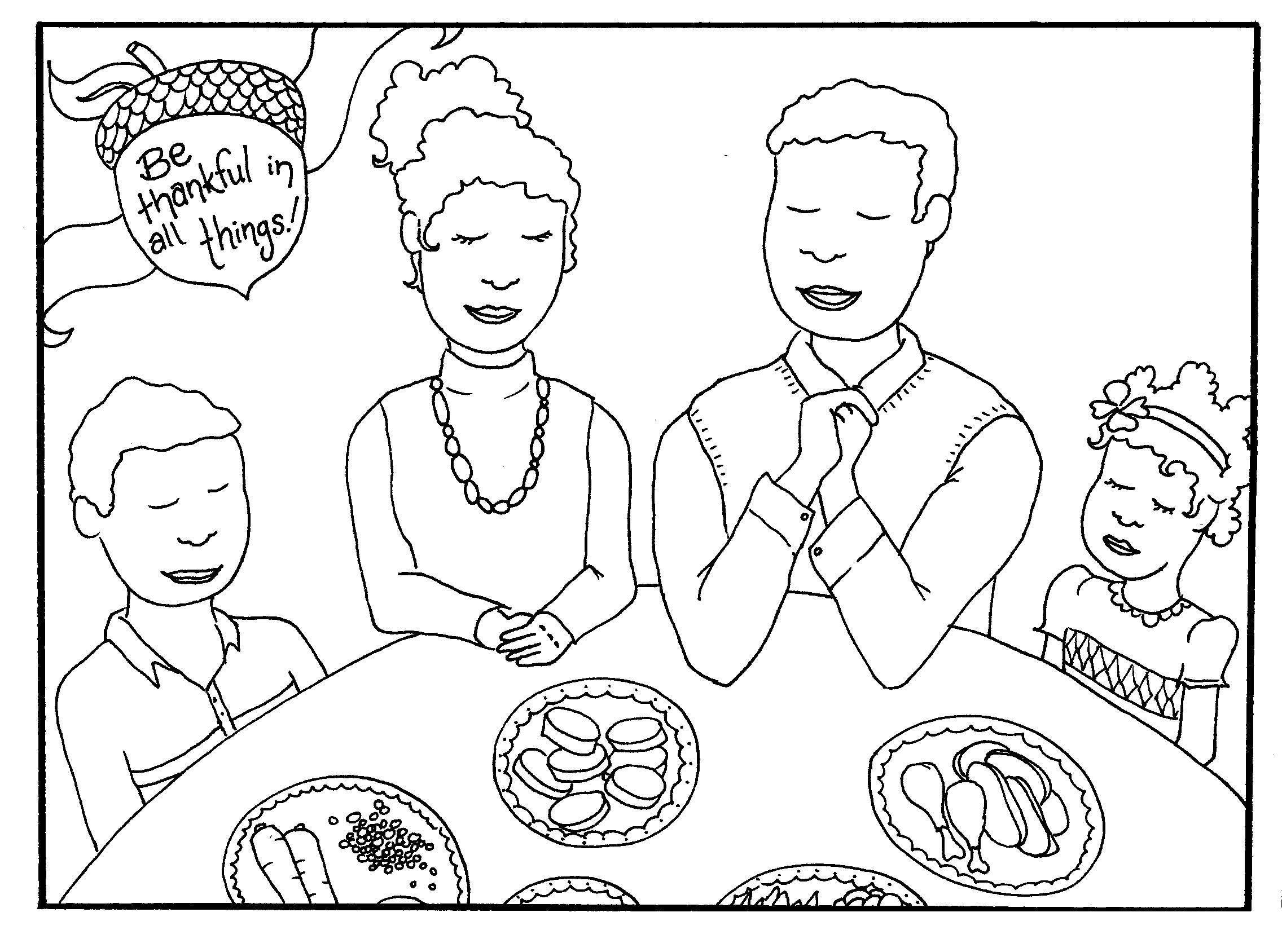 Tranh tô màu gia đình ăn cơm vui vẻ