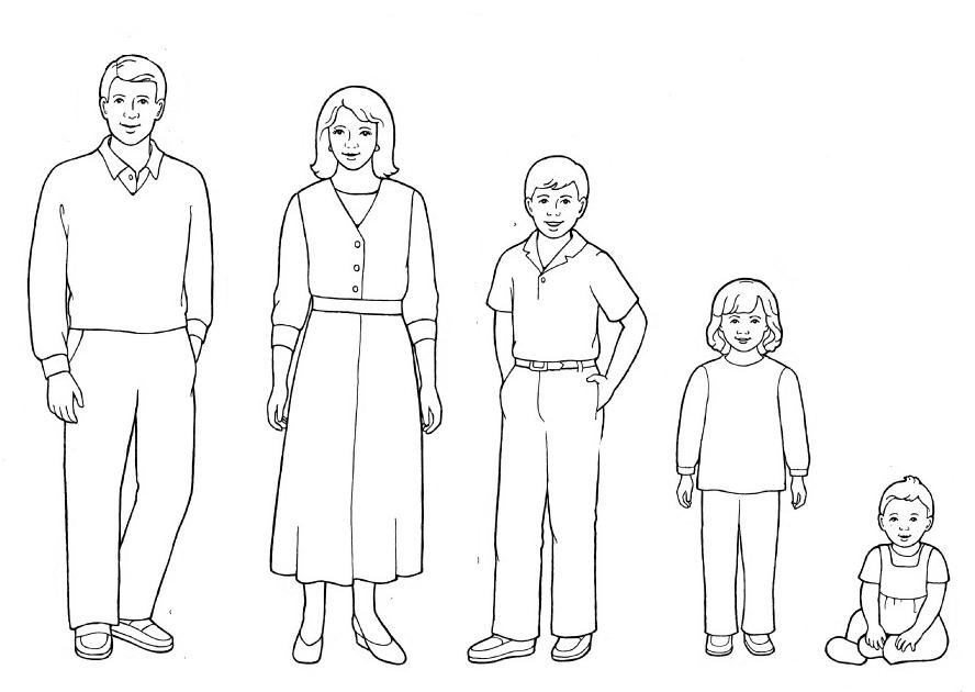 Tranh tô màu gia đình cho bé tập tô
