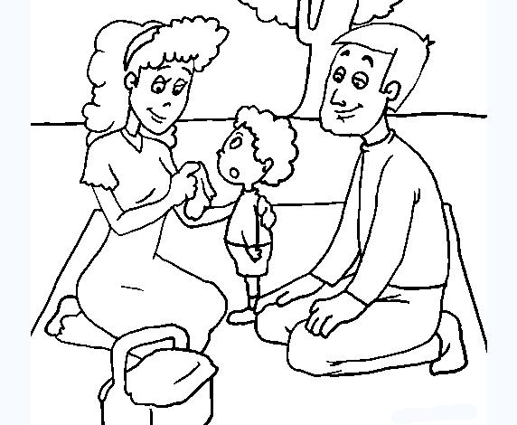 Tranh tô màu gia đình đi giã ngoại