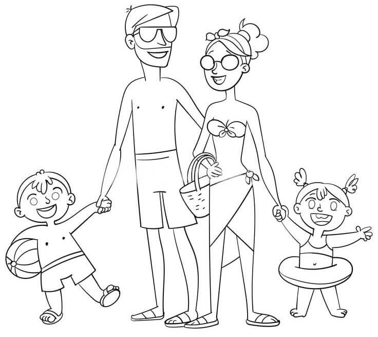Tranh tô màu gia đình đi tắm biển
