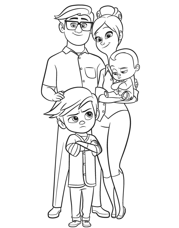Tranh tô màu gia đình hoạt hình boss