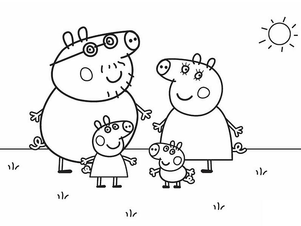 Tranh tô màu gia đình hoạt hình peppa