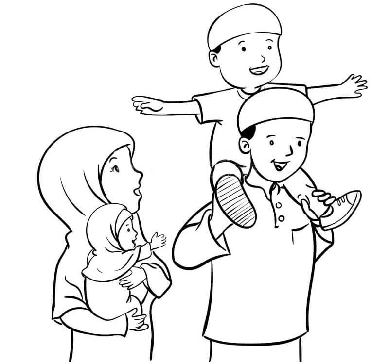 Tranh tô màu hình gia đình hạnh phúc