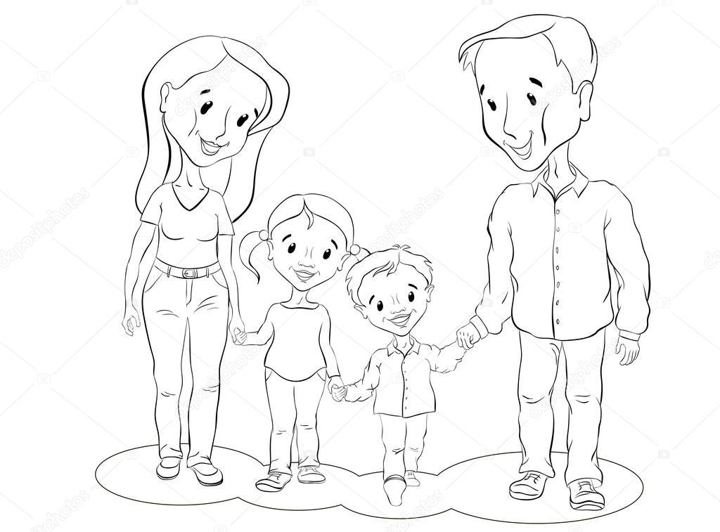 Tranh tô màu hình gia đình