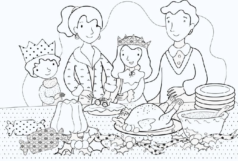Tranh tô màu mâm cơm gia đình