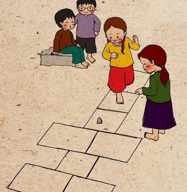 Tranh vẽ đề tài trò chơi dân gian đẹp nhất