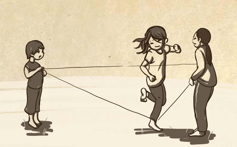 Tranh vẽ trò chơi dân gian nhảy dây