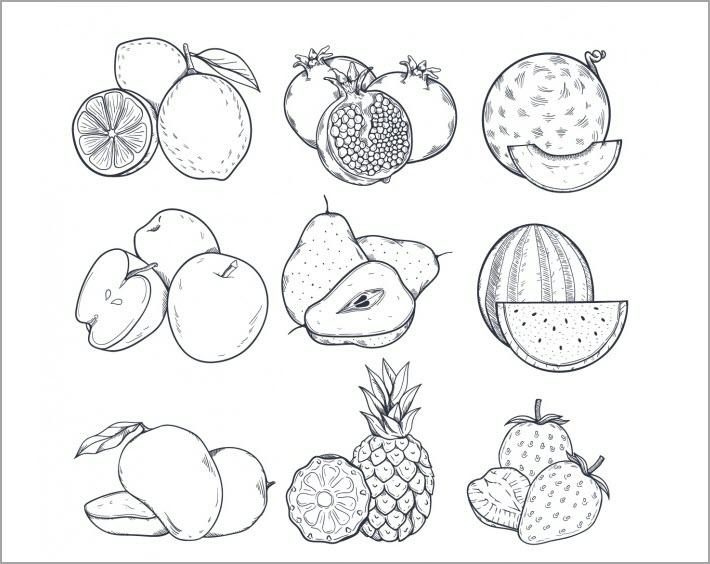 Bé tập tô màu các loại hoa quả, trái cây