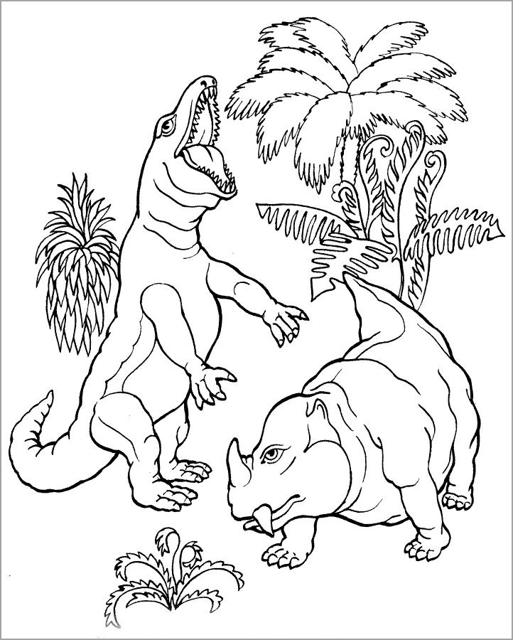 Bé tập tô màu con khủng long