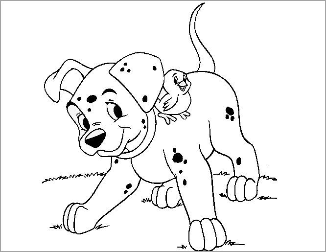 Bé tập tô màu hình con chó