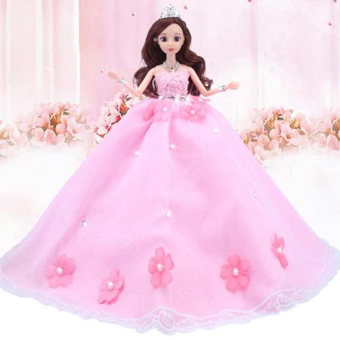 Búp bê cô dâu 3D váy hồng xinh xắn