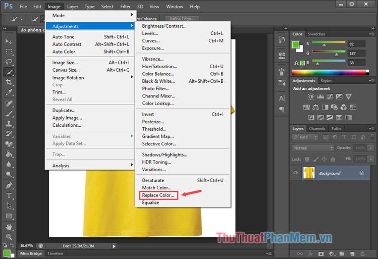 Chọn menu Image - Adjustments - Replace Color...