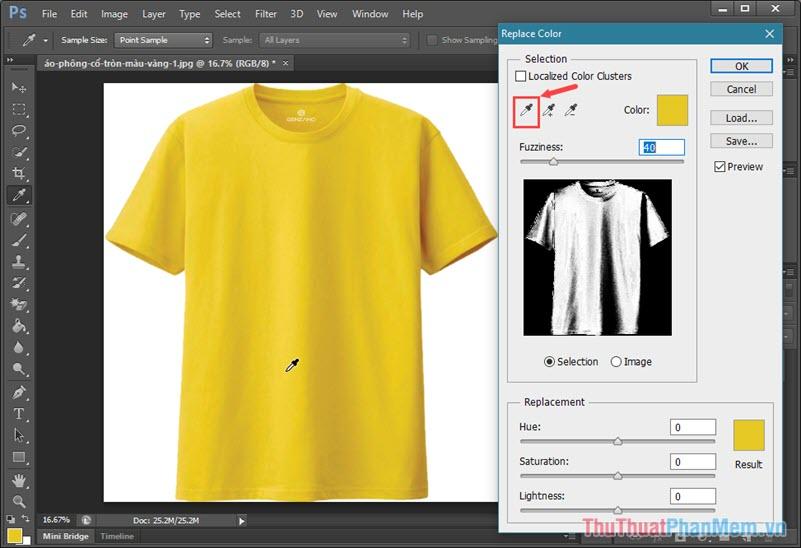 Click vào biểu tượng cây bút thí nghiệm rồi click vào vùng màu ảnh cần đổi