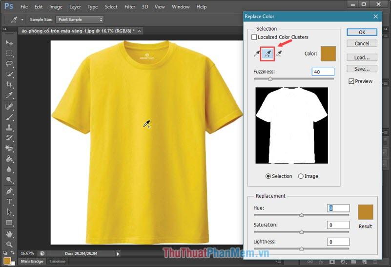 """Click vào biểu tượng Eyedropper có dấu """"+"""" để chọn thêm những vùng màu ảnh khác"""