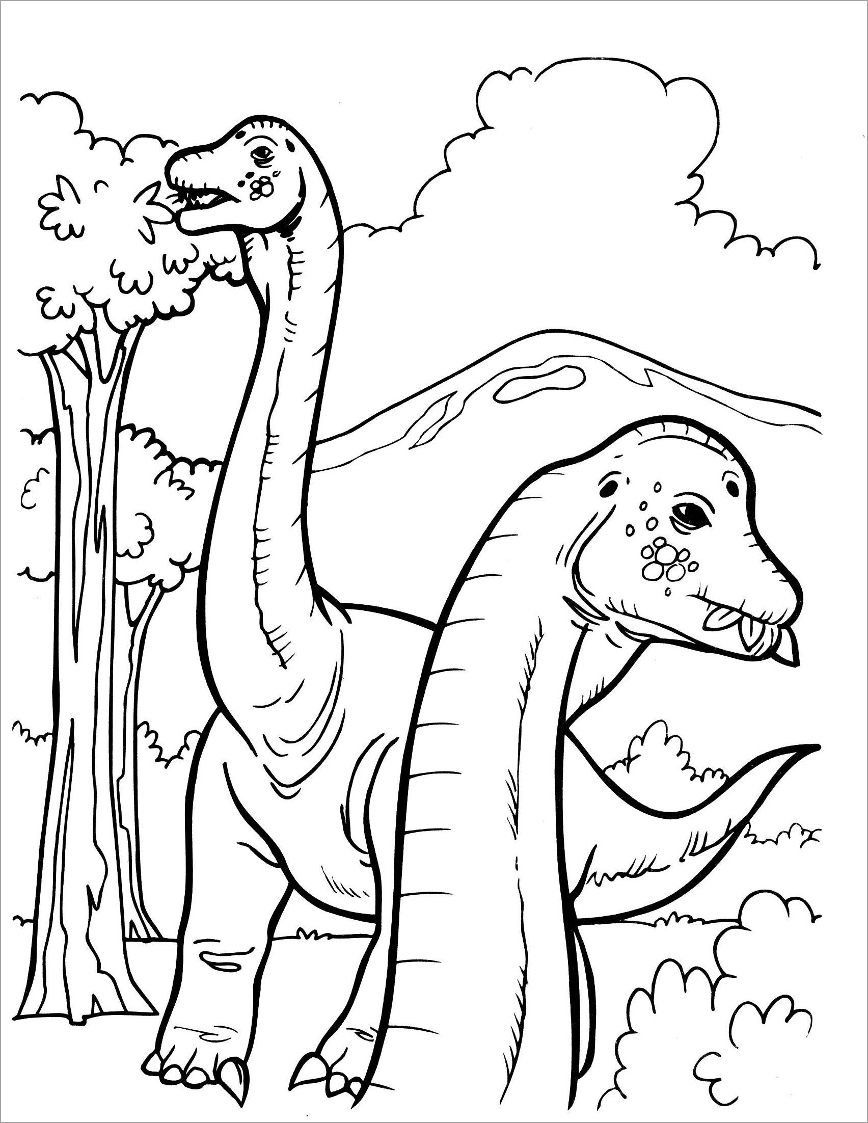 Hình khủng long bạo chúa cho bé tập tô màu