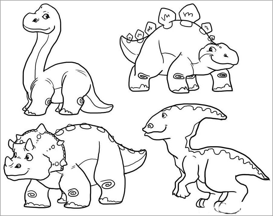 Hình khủng long cho bé tập tô màu đẹp