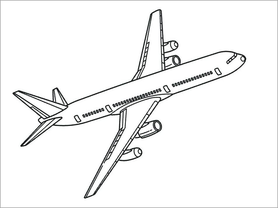 Hình máy bay cho bé tập tô màu
