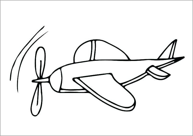 Hình máy bay đang bay cho bé tô màu