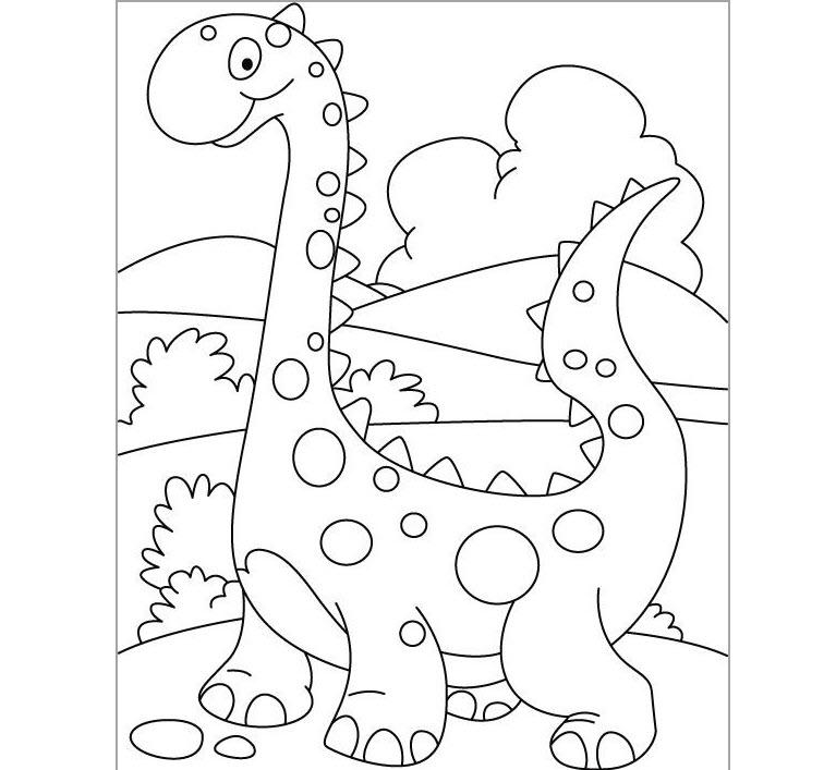 Hình tập tô màu khủng long dễ thương