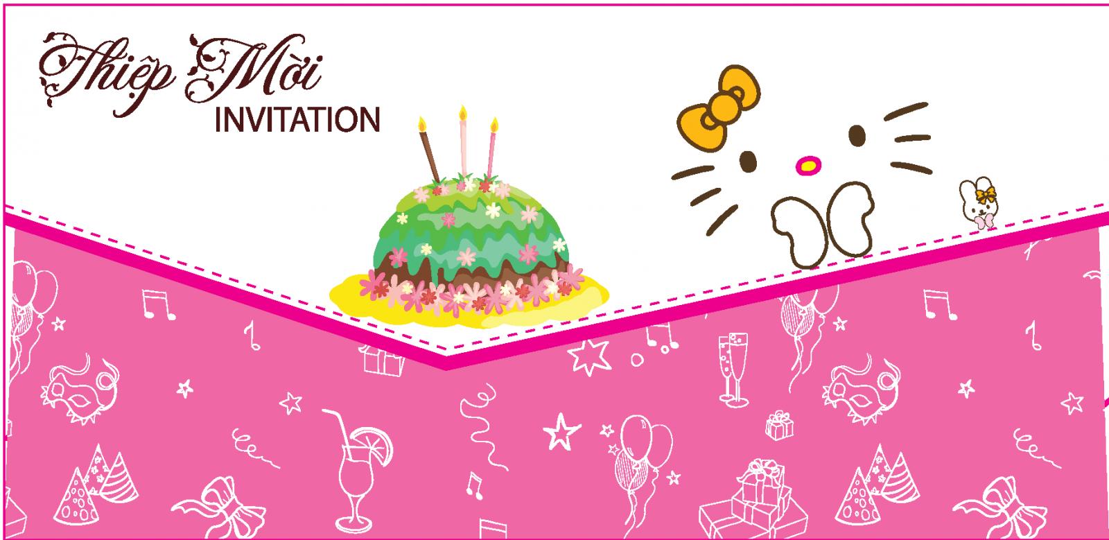 Hình thiệp mời sinh nhật dễ thương
