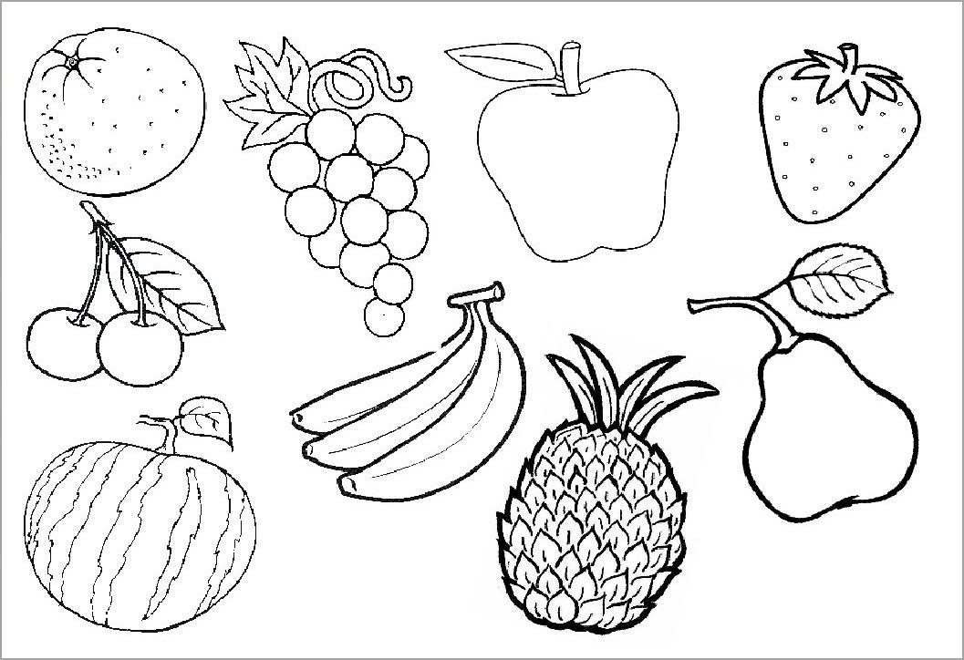 Hình tô màu các loại hoa quả cho bé