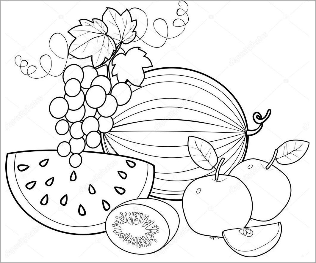 Hình tô màu các loại quả