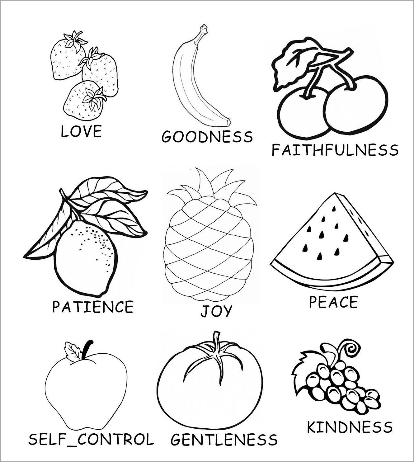 Hình tô màu các loại trái cây