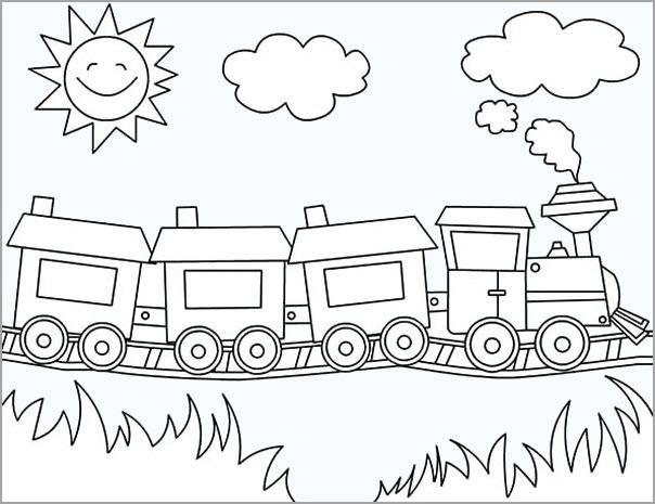 Hình tô màu đoàn tàu cho bé