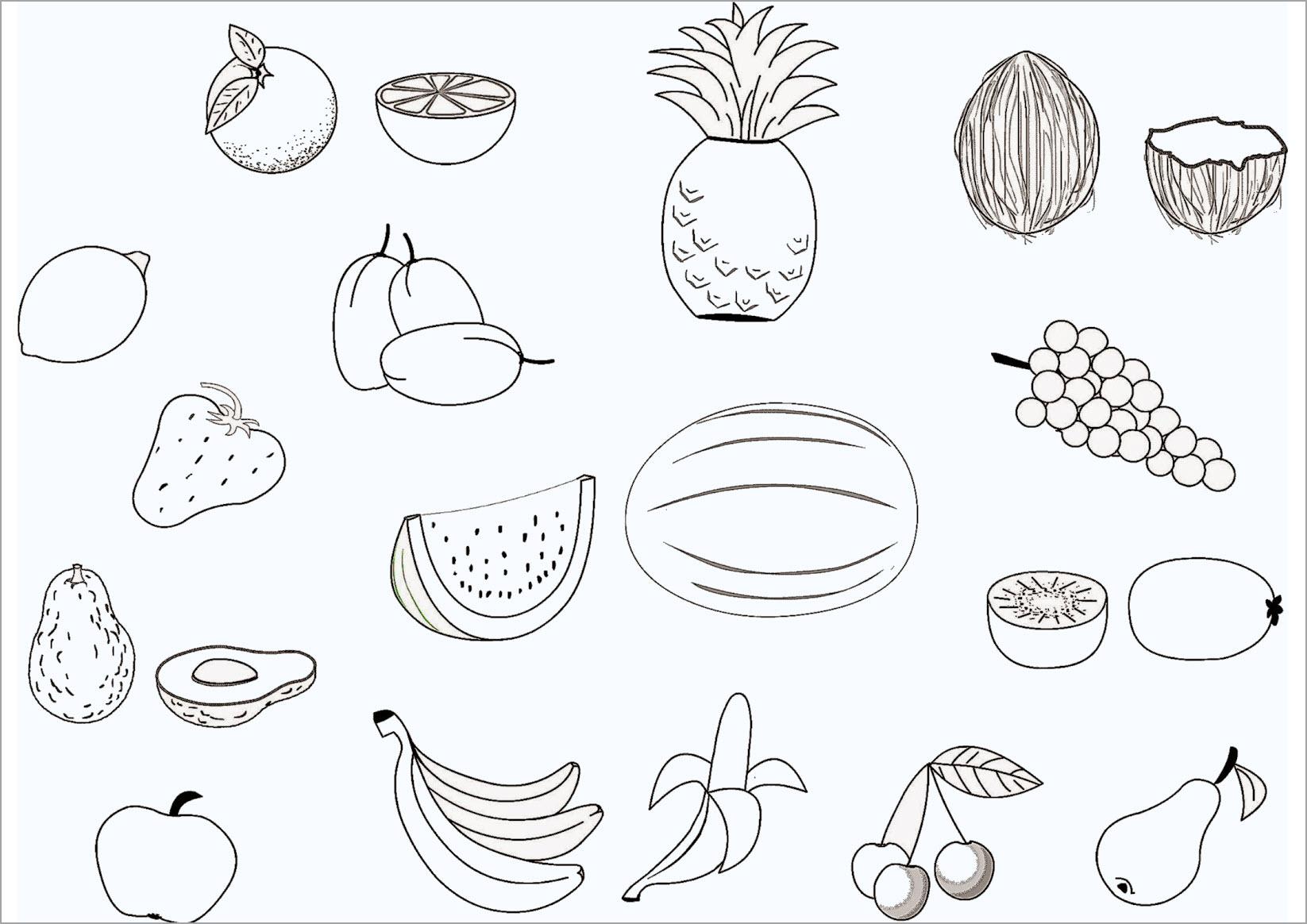 Hình tô màu hoa quả