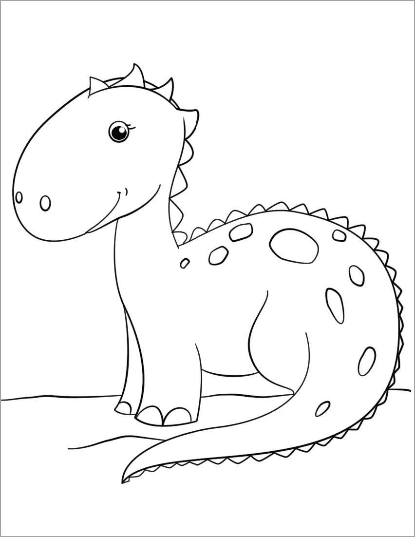 Hình tô màu khủng long dễ thương