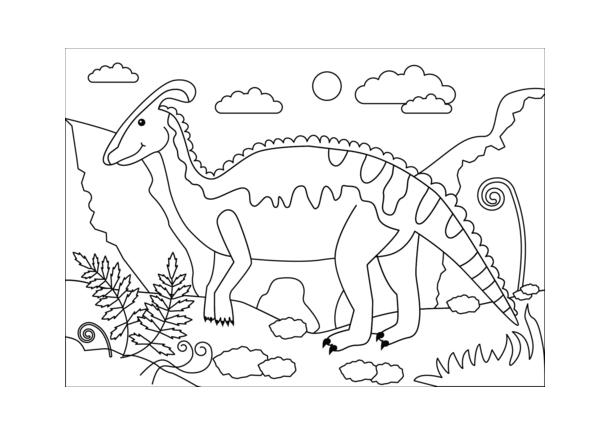 Hình tô màu khủng long trong rừng