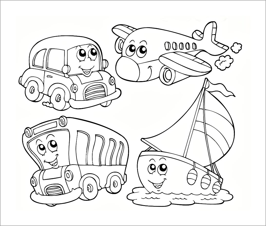 Hình tô màu một số phương tiện giao thông