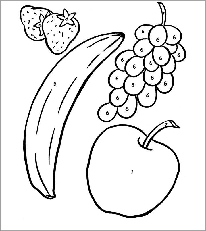 Hình tô màu quả chuối, quả táo, quả nho và quả dâu tây