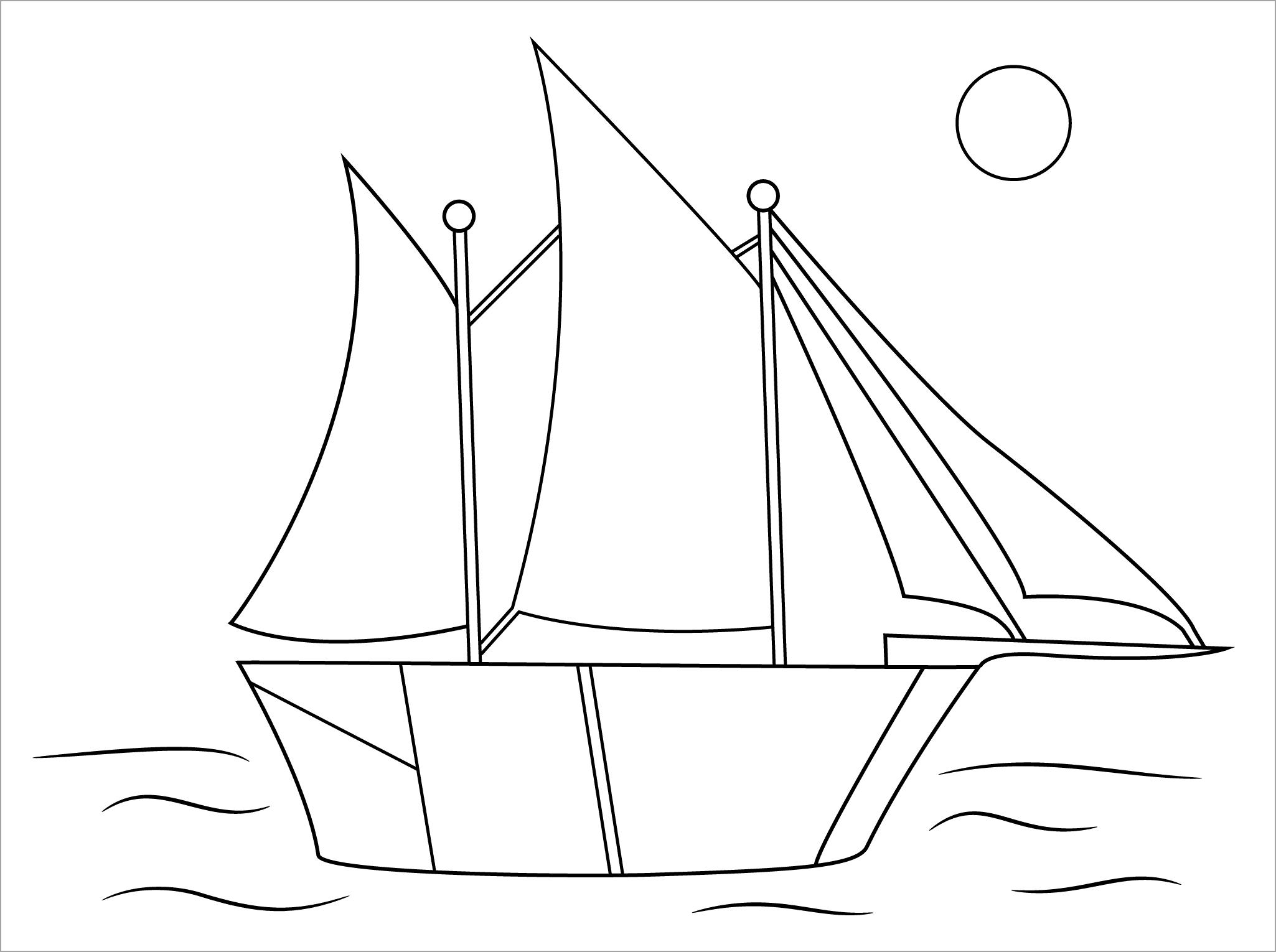 Hình tô màu thuyền buồm cho bé
