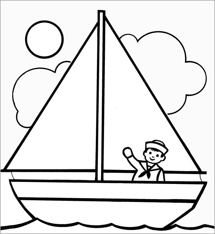 Hình tô màu thuyền buồm