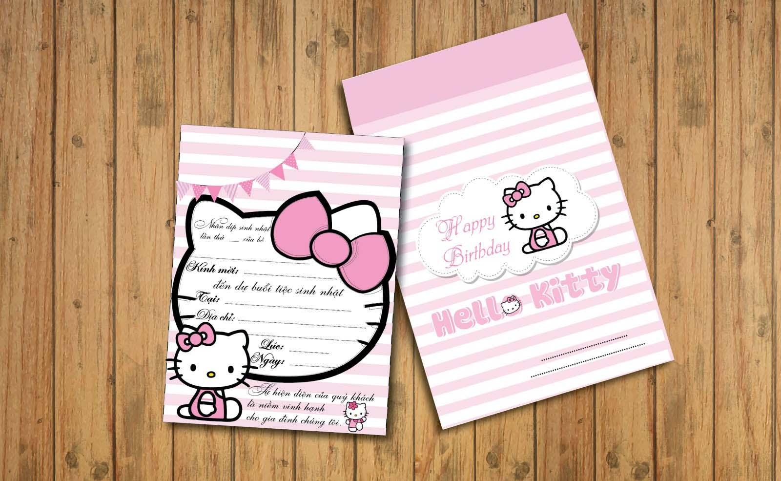 Mẫu thiệp mời sinh nhật hello kitty