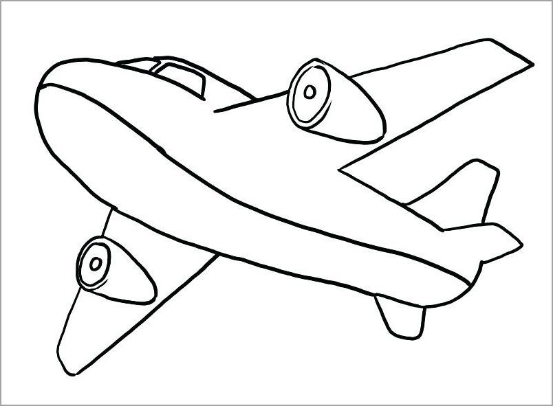 Máy bay cho bé tập tô màu