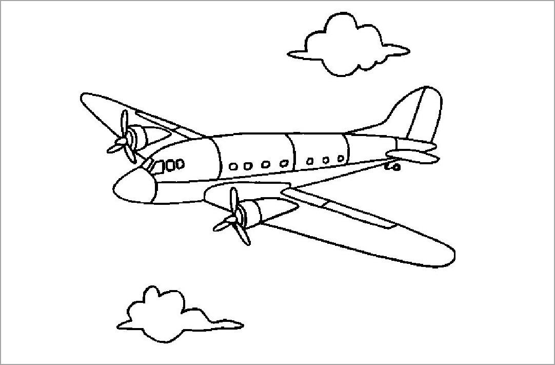 Tô màu hình máy bay cho bé