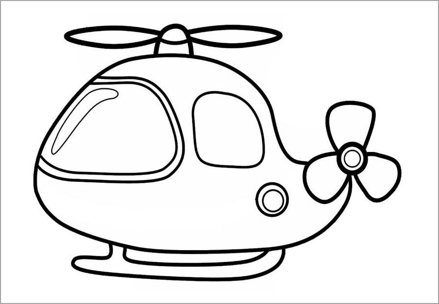 Tô màu máy bay trực thăng cho bé