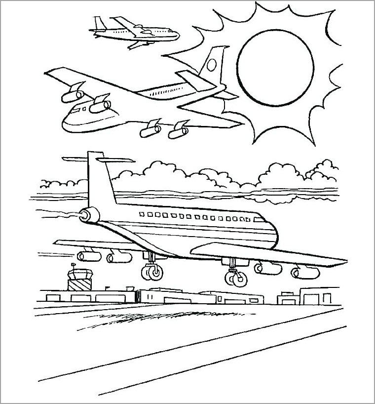 Tranh tập tô màu hình máy bay
