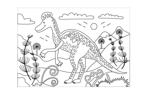 Tranh tập tô màu khủng long trong rừng