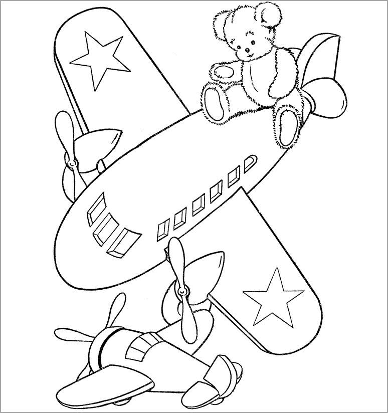 Tranh tập tô màu máy bay cho bé