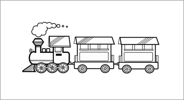 Tranh tập tô màu tàu hỏa cho bé