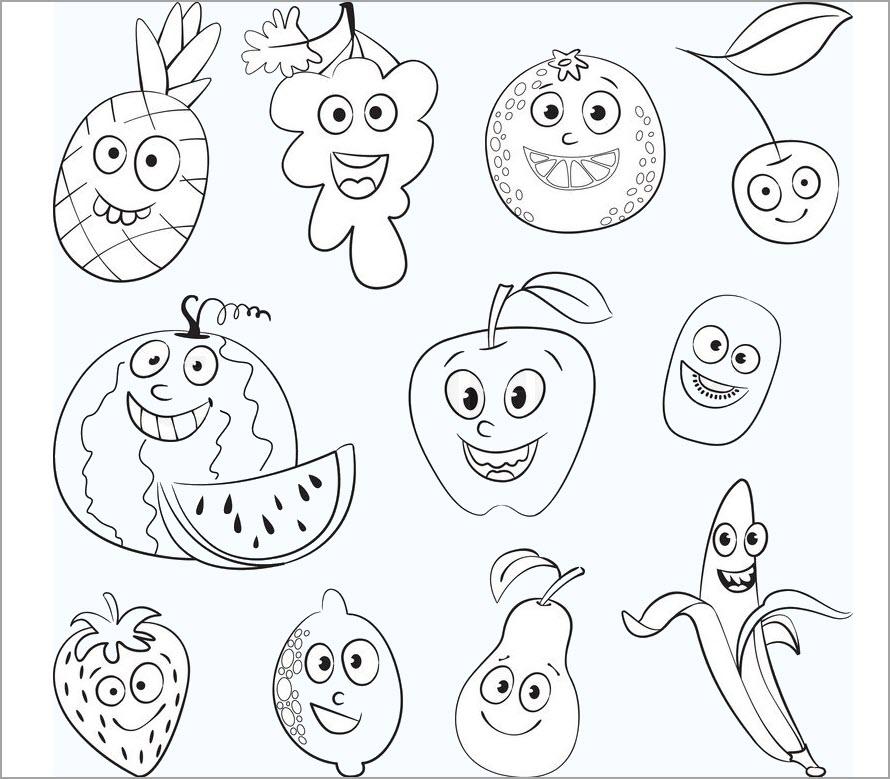 Tranh tô màu các loại quả ngộ nghĩnh