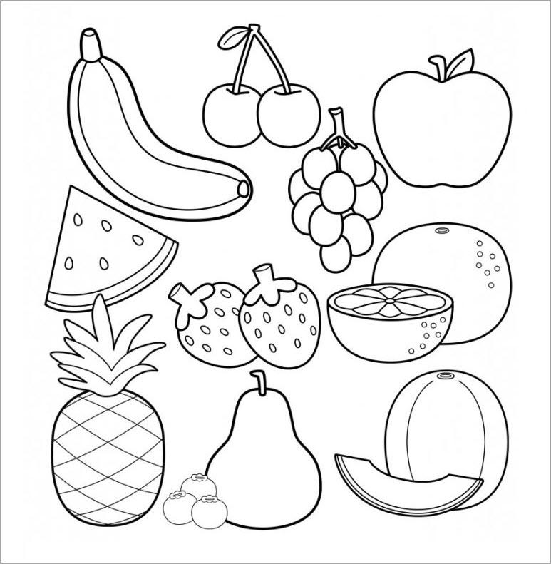 Tranh tô màu chủ đề hoa quả