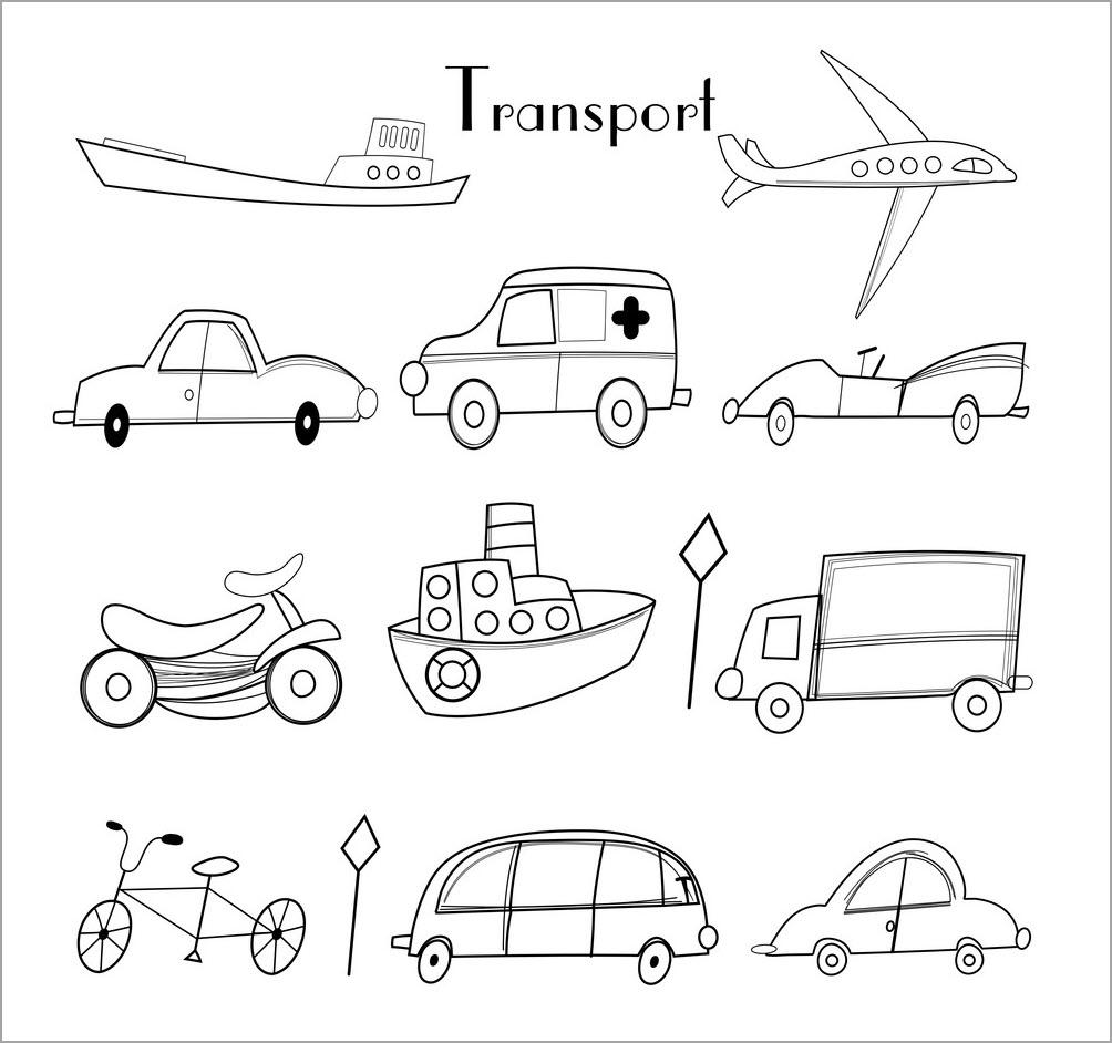 Tranh tô màu chủ đề phương tiện giao thông