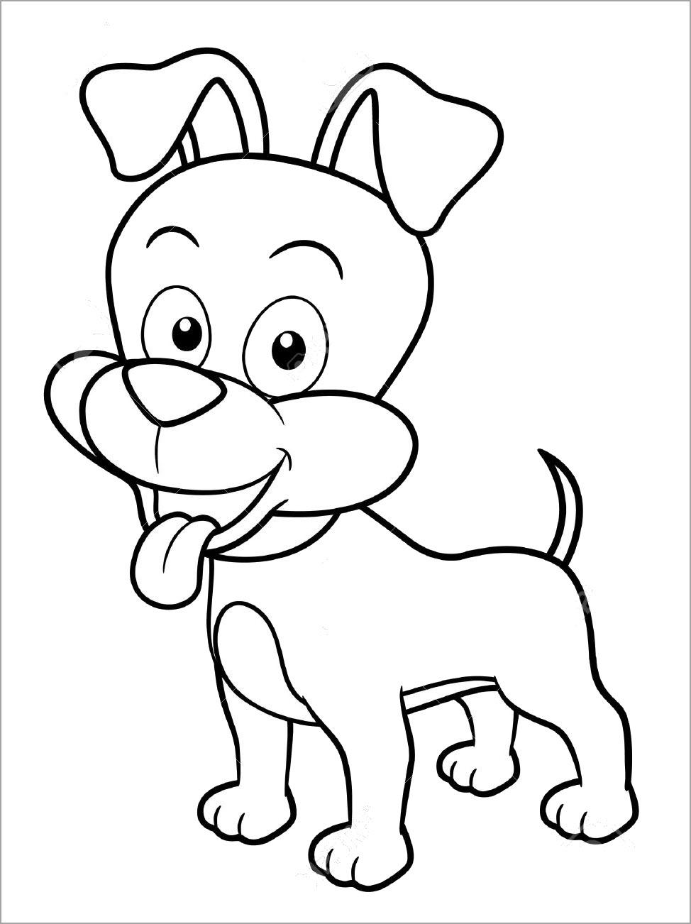 Tranh tô màu con chó dễ thương
