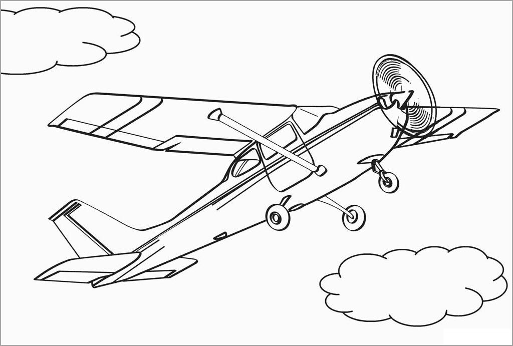 Tranh tô màu hình máy bay cho bé