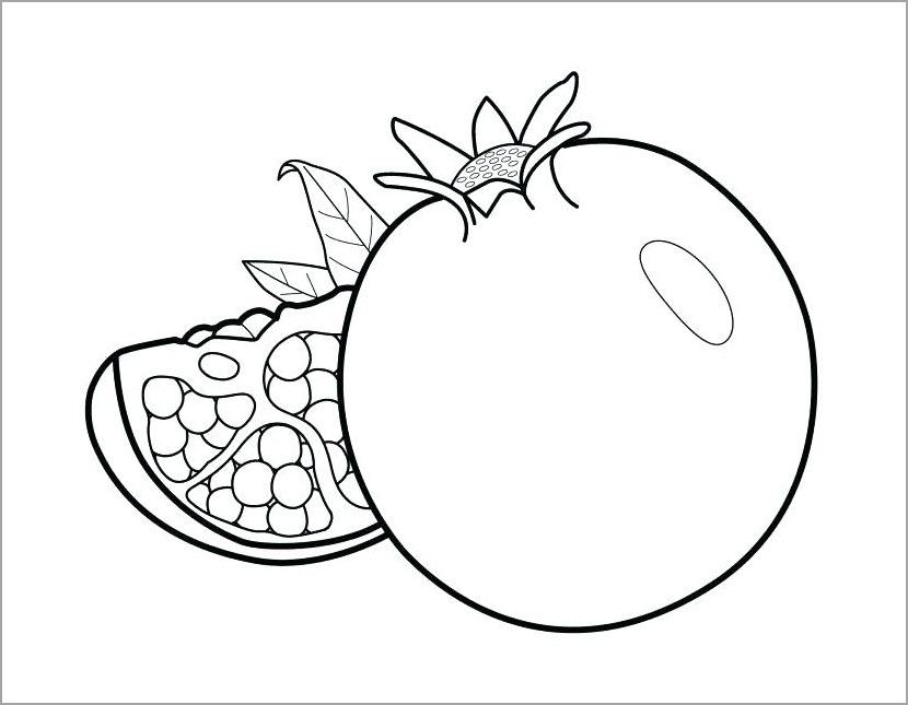 Tranh tô màu hình quả lựu